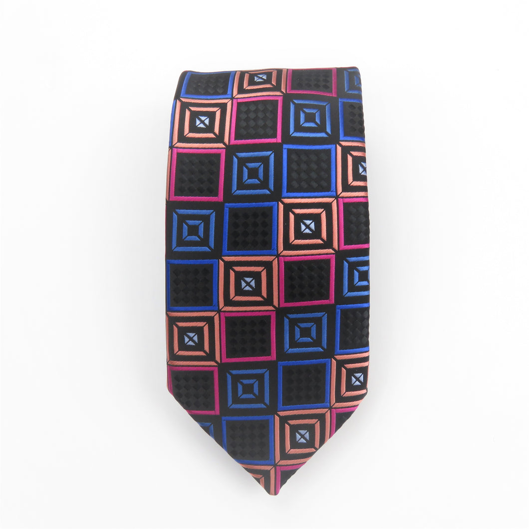 Wide Knot Multi Colored Square Pattern Necktie