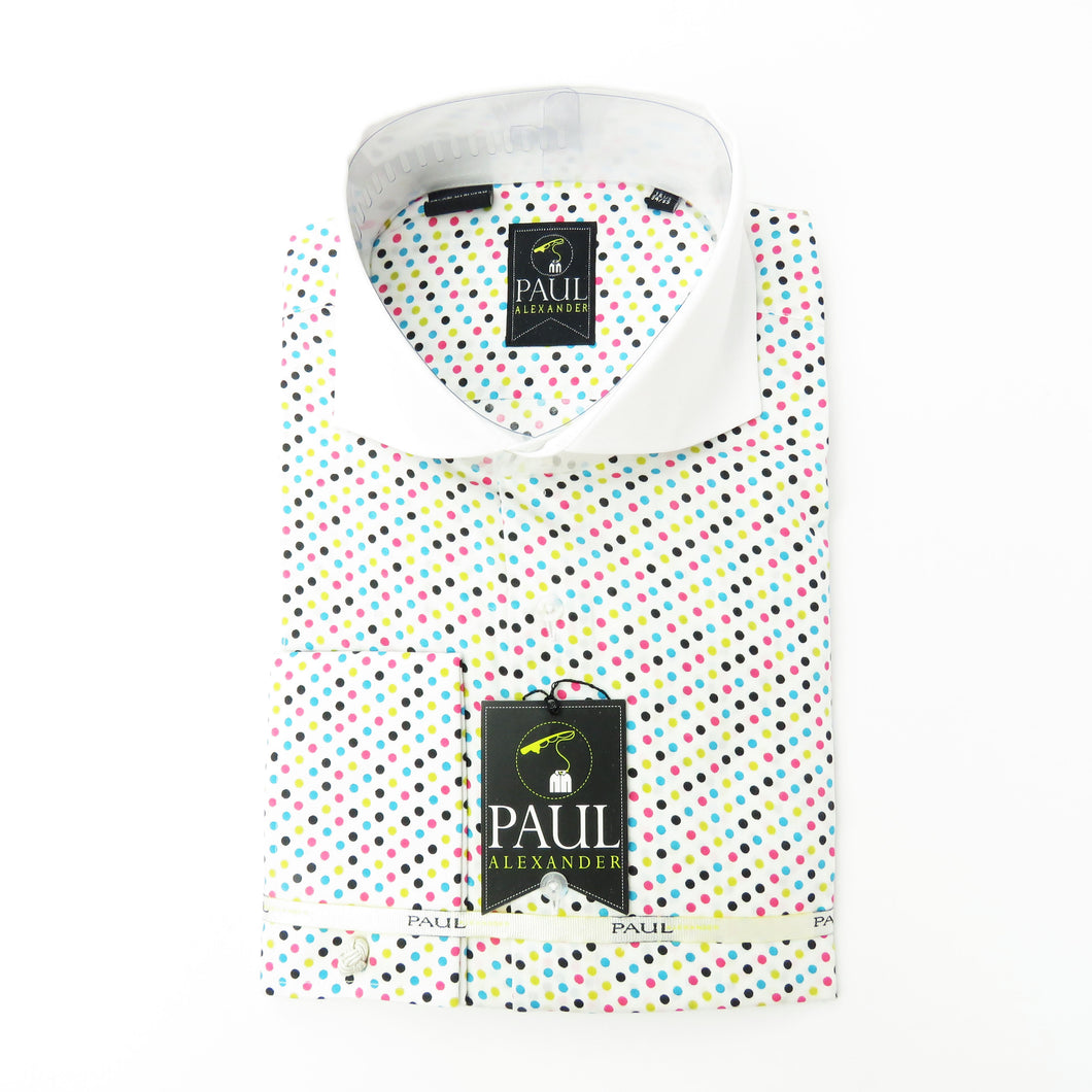 Cut Collar multi Colored polka dot
