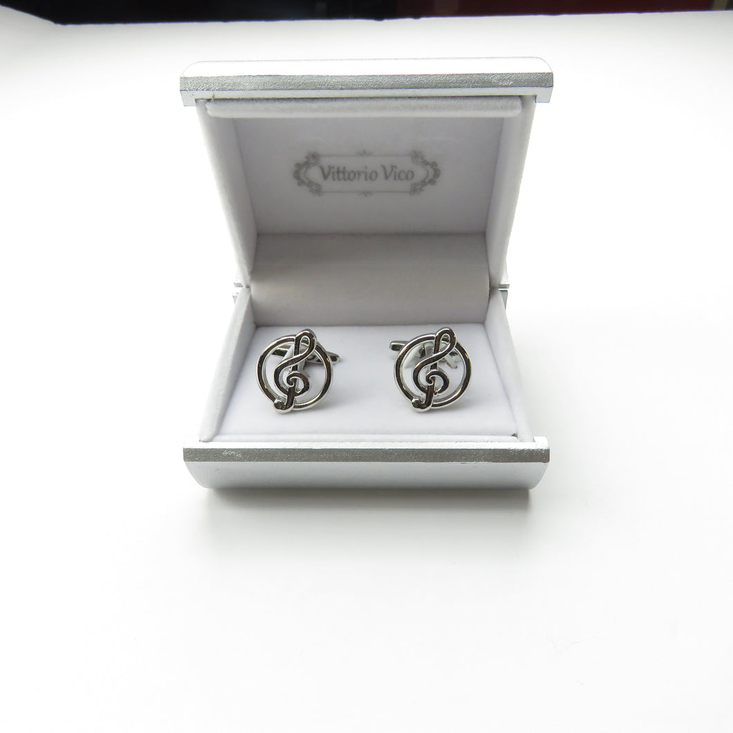 Silver Music Note Cufflinks with box
