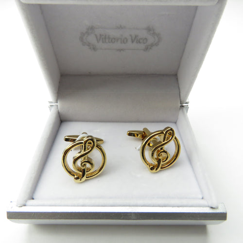 Gold Music Note Cuffllinks With Box