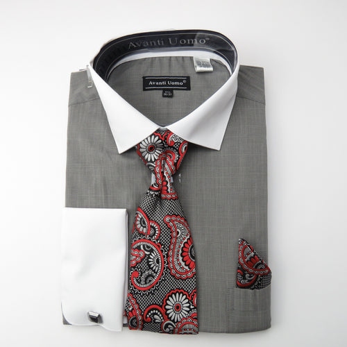 Classic Grey Dress Shirt and Tie Combo