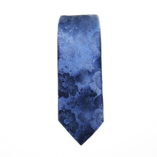 Navy Blue Floral Wider Knot Necktie Set