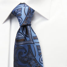 Blue & Brown Paisley Wider Knot Necktie Set