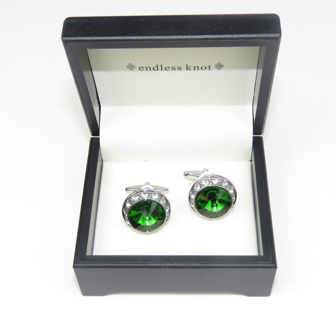 Emerald Green and Silver Cufflinks