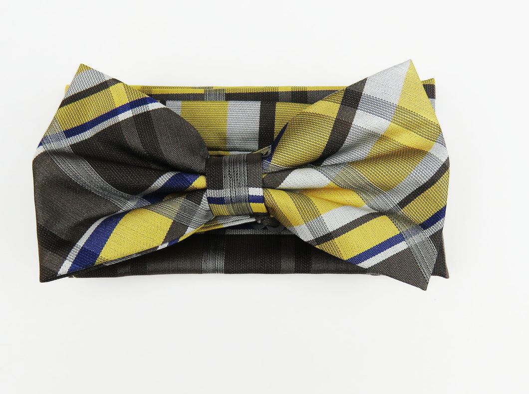 Blue and gold patterned bow tie set