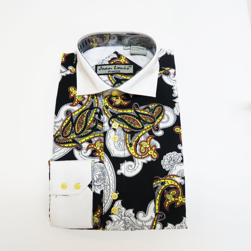 Black and White Dress shirt with yellow paisley