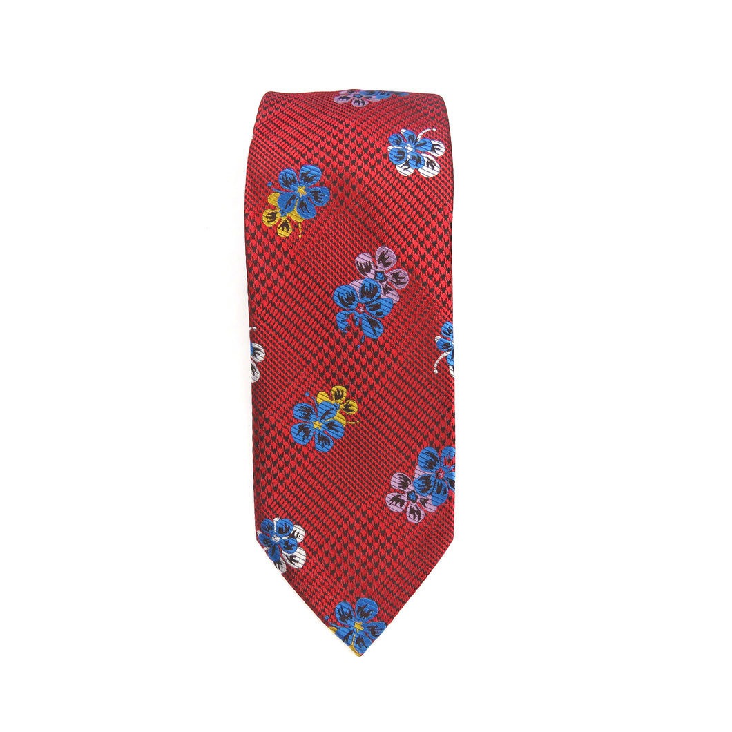 Red Floral Necktie Set