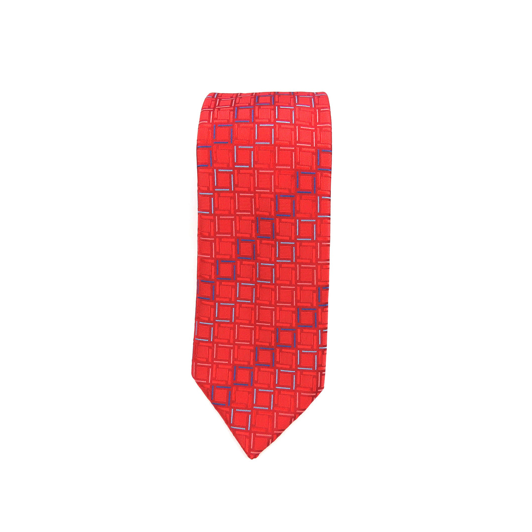 Classic red pattern with a touch of blue necktie set