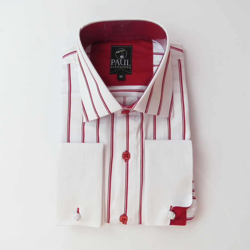 Paul Alexander Red Striped Dress Shirt