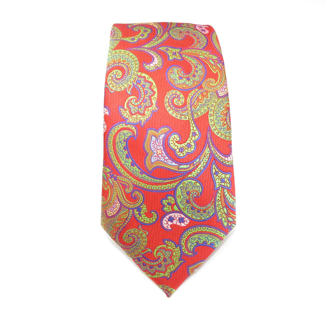 Red Necktie With Multi Colored Paisley Pattern