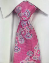 Classic Pink and blue paisley necktie set