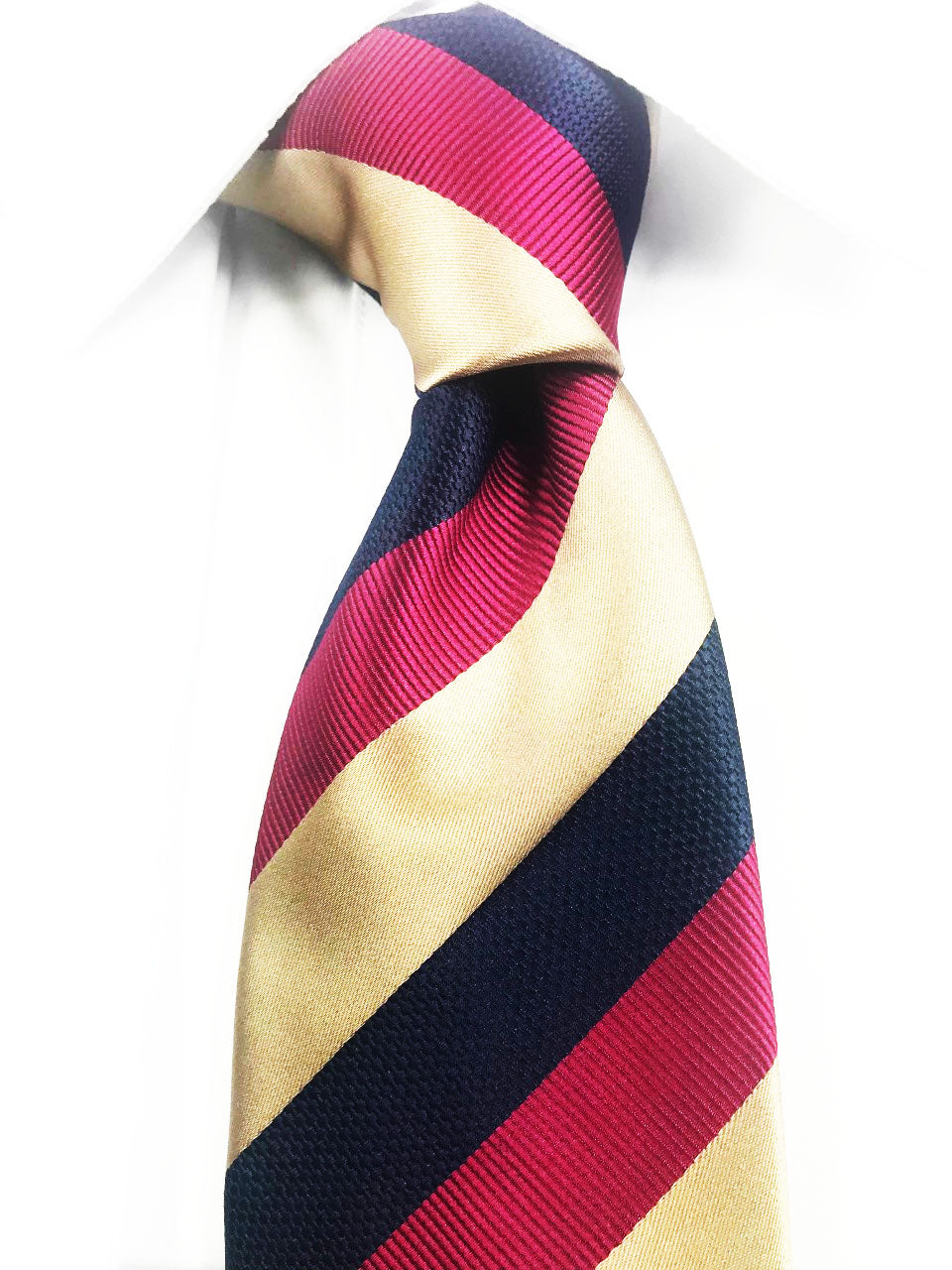 Classic gold, blue, and red striped necktie set