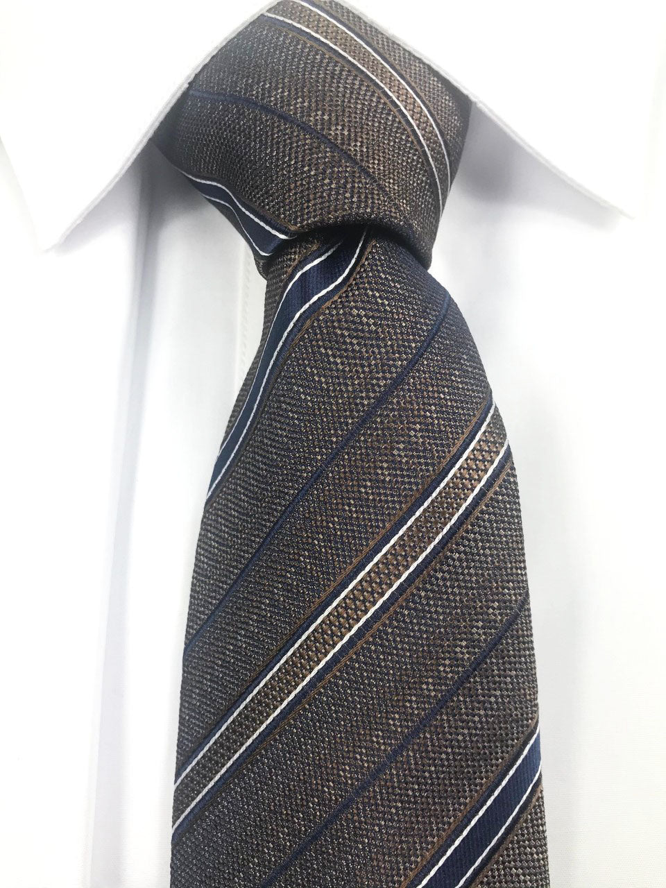 Brown with navy stripe necktie set