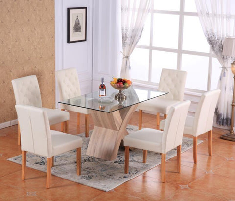 Valencia Glass Dining Room Table