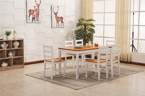 Solid Pine Wood Dining Table And Chair Set