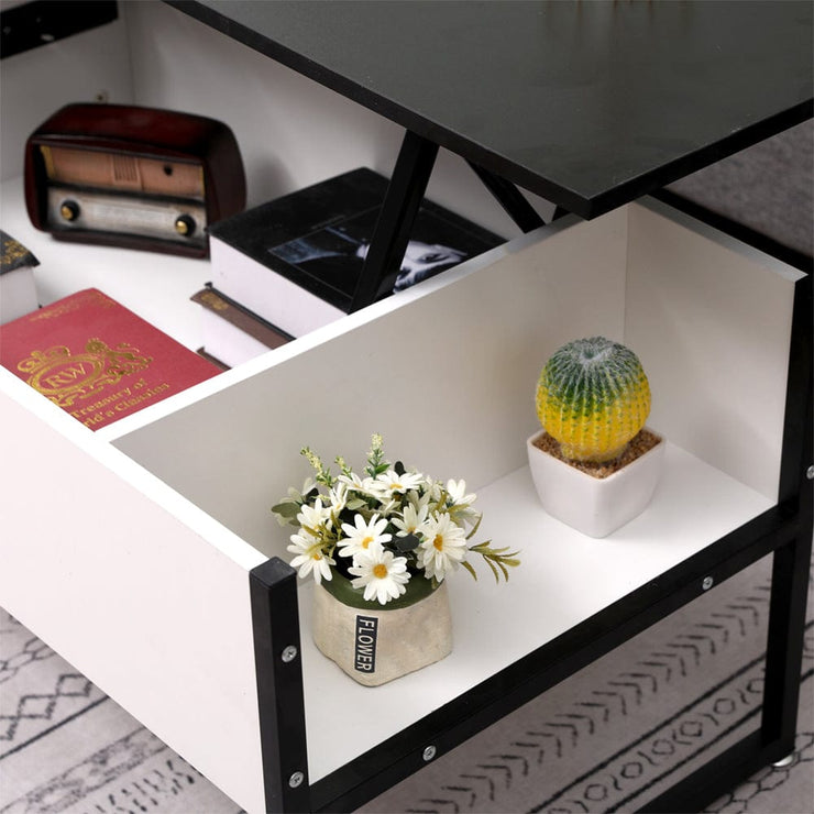 Luca Lift Up Coffee Table In Black & White
