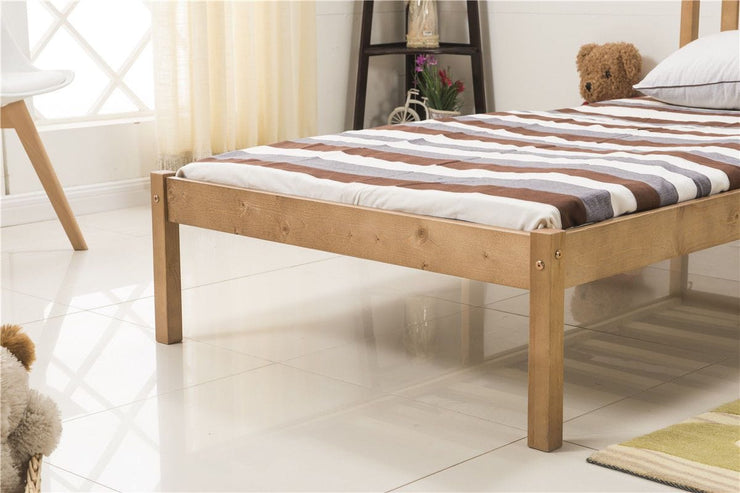 3FT Single Bed Frame Natural Wooden Finish - Furniture Maxi