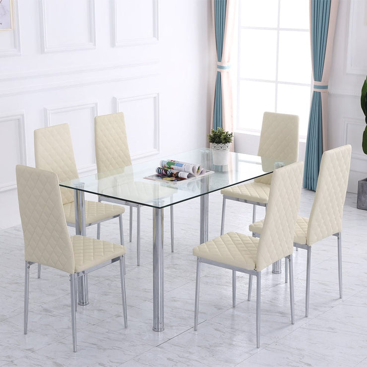 Orsa Dining Table Set With 6 Chairs In Cream