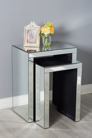 Glamor Mirrored Glass Nest of Tables - Furniture Maxi