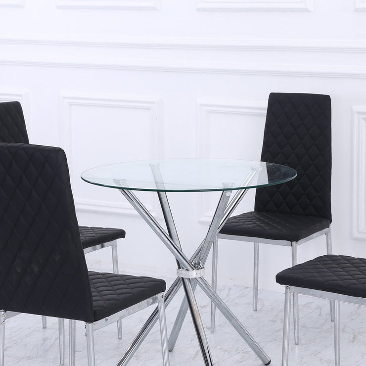 Orsa Round Dining Table Set With 4 Dining Chairs In Black