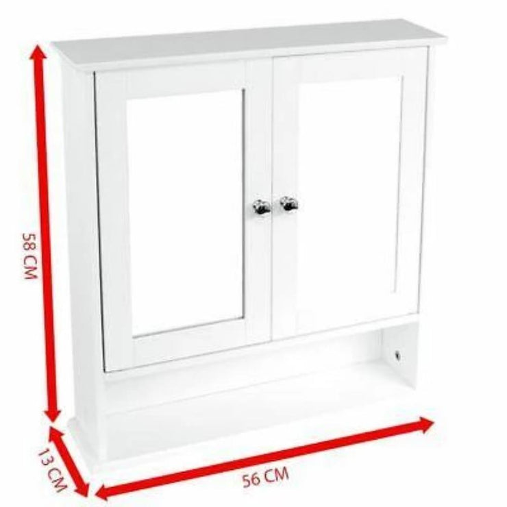 Double Door Mirrored Wall Cabinet - Furniture Maxi