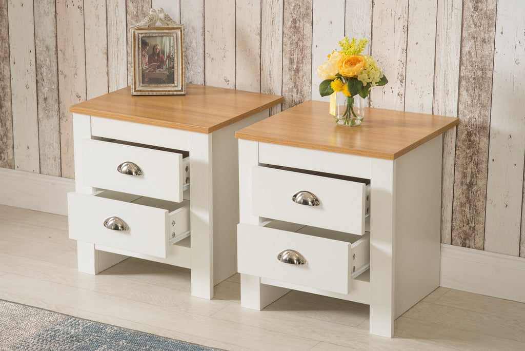 Set of 2 White 2 Drawer Bedside Table Night Stand | Furniture Maxi