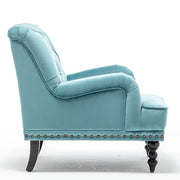 Darwin Velvet Accent Chair In Light Blue