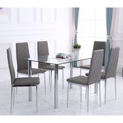 Orsa Dining Table Set With 6 Chairs In Grey