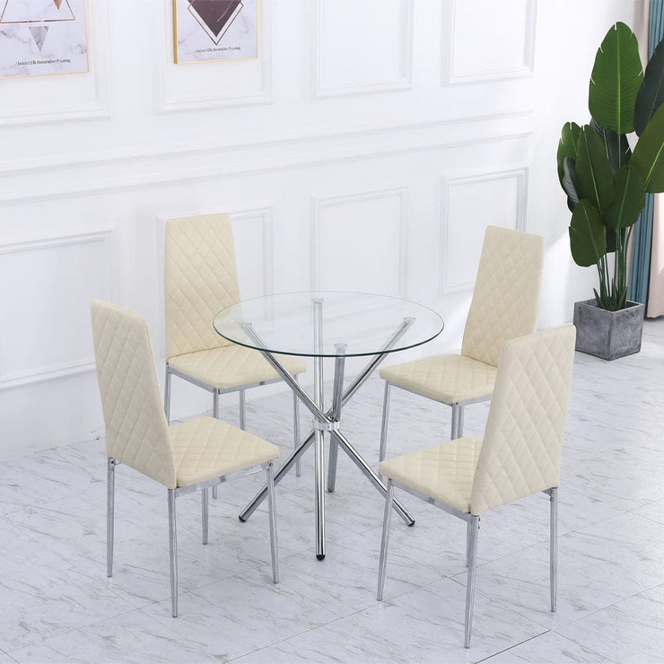 Orsa Round Dining Table Set With 4 Dining Chairs In Cream