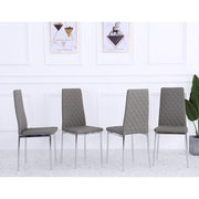 Orsa Faux Leather Dining Chairs In Grey (Set Of 4)