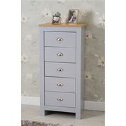 Heritage 5 Drawer Tall Chest In Grey and Oak