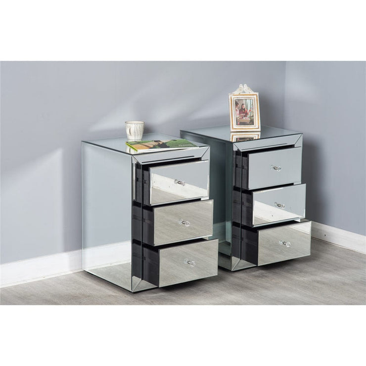 Glamour Set Of 2 Mirrored Bedside Tables
