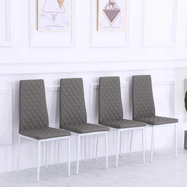 Orsa Faux Leather Dining Chairs In Grey & White Legs (Set Of 4)