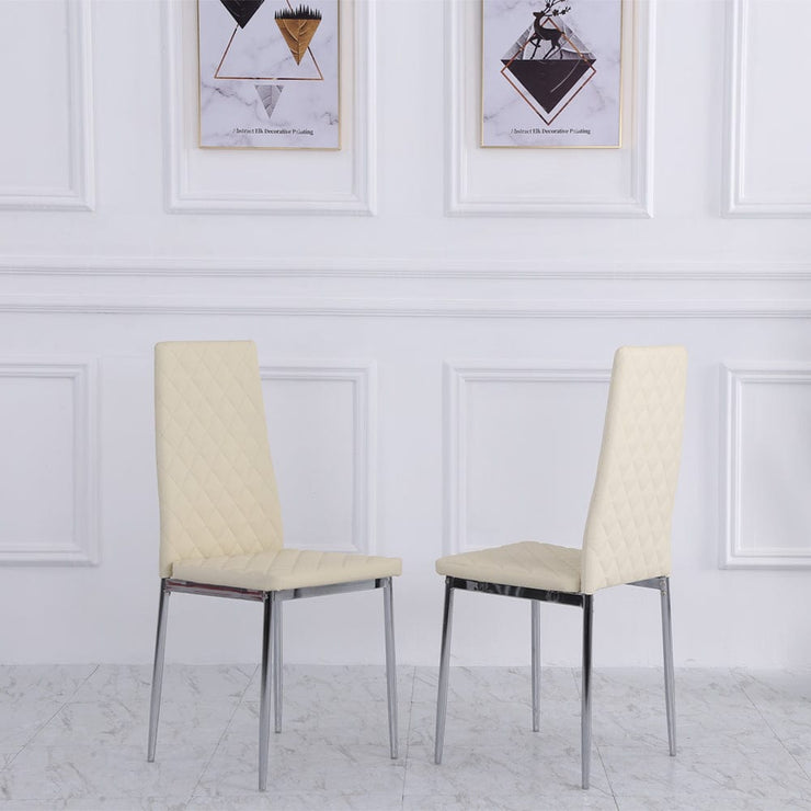 Orsa Faux Leather Dining Chairs In Cream (Set Of 2)