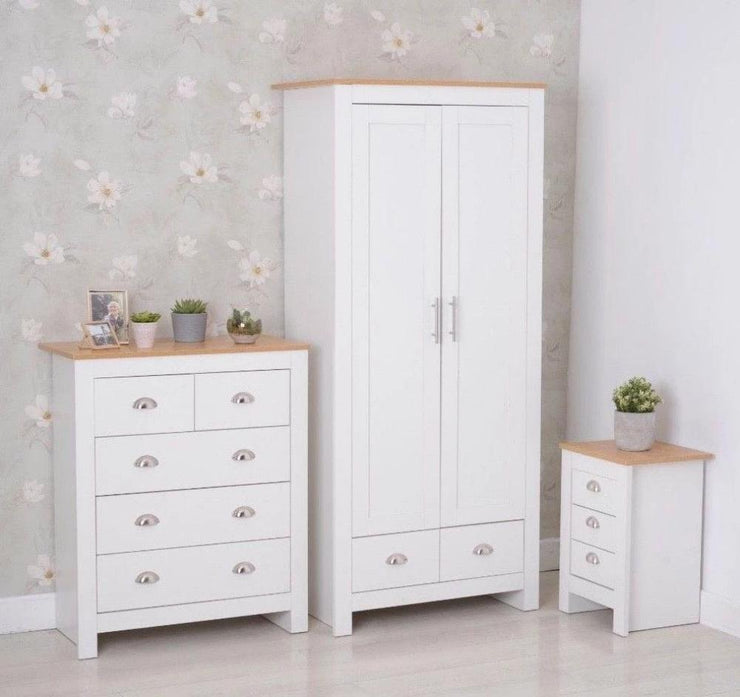 Heritage Set of Three Bedroom Piece with White and Oak Finish, Bedroom Furniture, Furniture Maxi, Furniture Maxi
