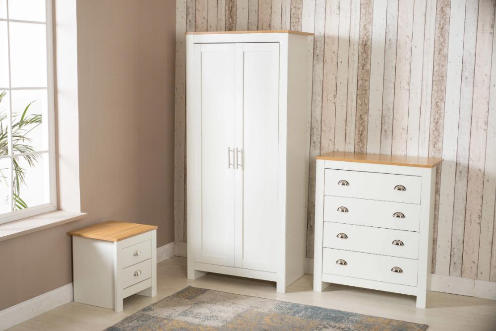 3 Piece Bedroom Set White and Oak | Furniture Maxi