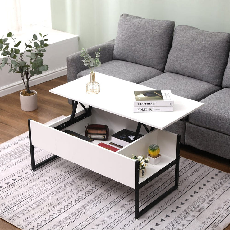 Luca Lift Up Coffee Table In White