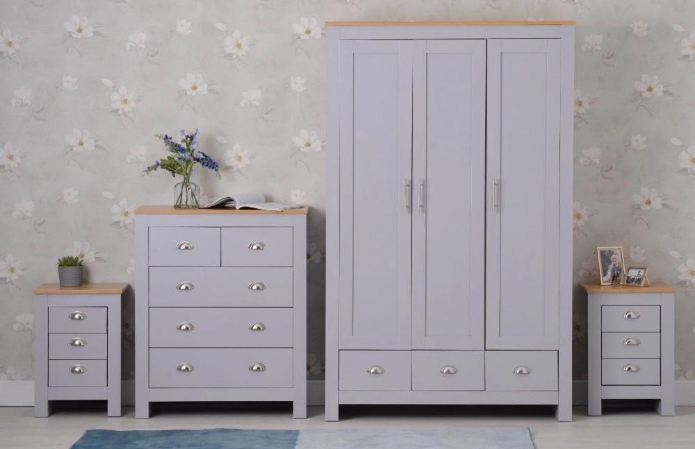 Set of Four Bedroom Piece with Grey and Oak Finish Bedroom Furniture Furniture Maxi