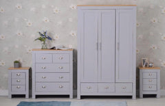Set of Four Bedroom Piece with Grey and Oak Finish