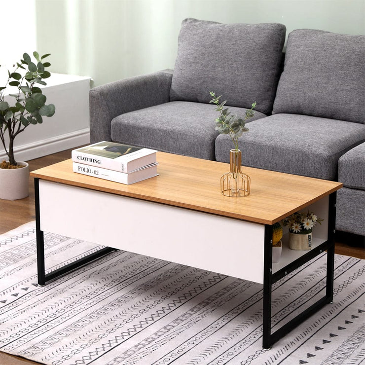 Luca Lift Up Coffee Table In Oak & White