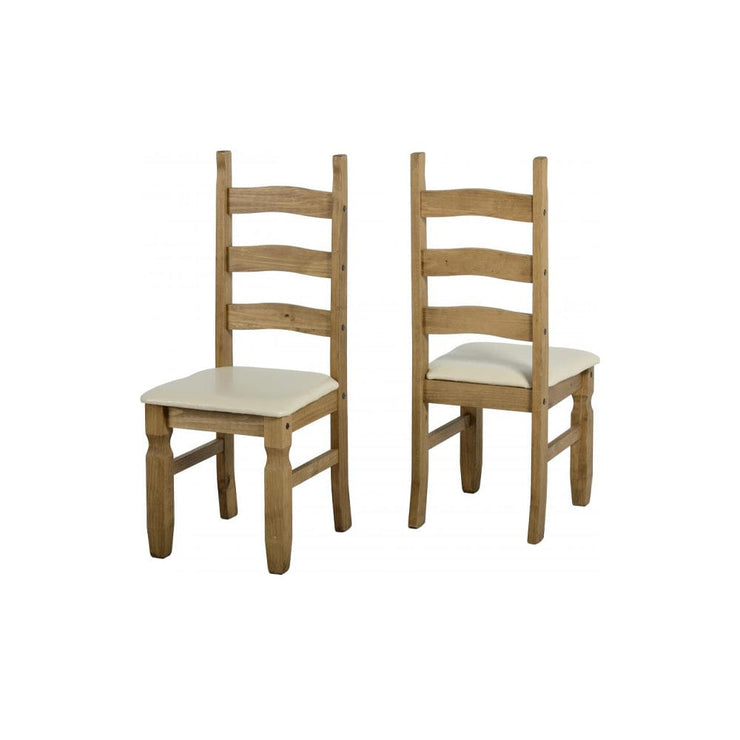 Almos Pine Dining Chairs With Cream Faux Leather Seats (Set of 2) - Furniture Maxi