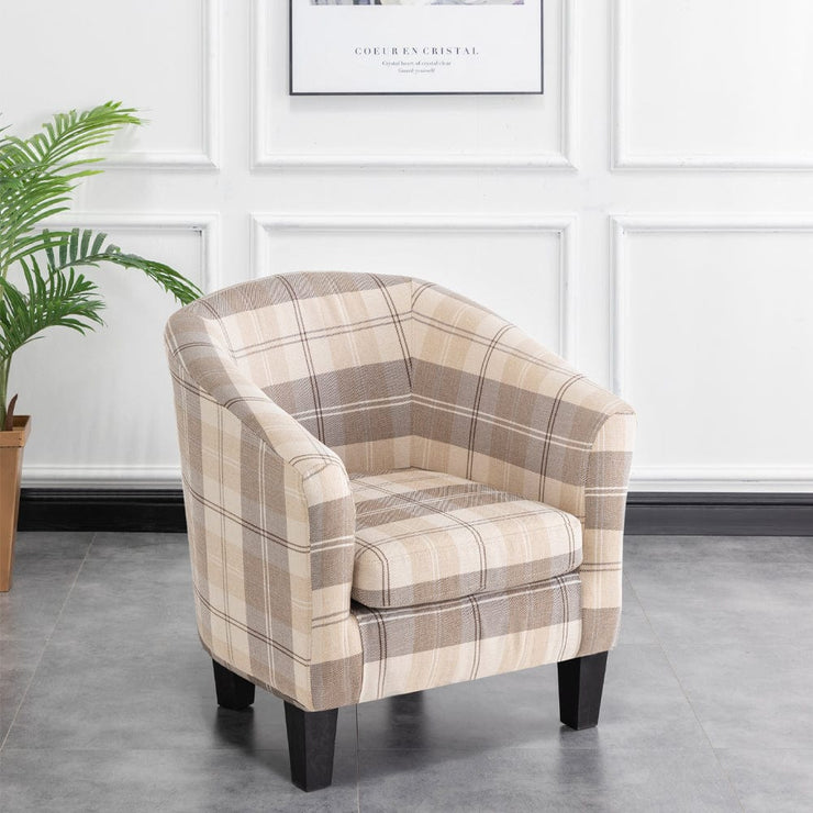 Ascot Fabric Tub Chair In Brown Tartan