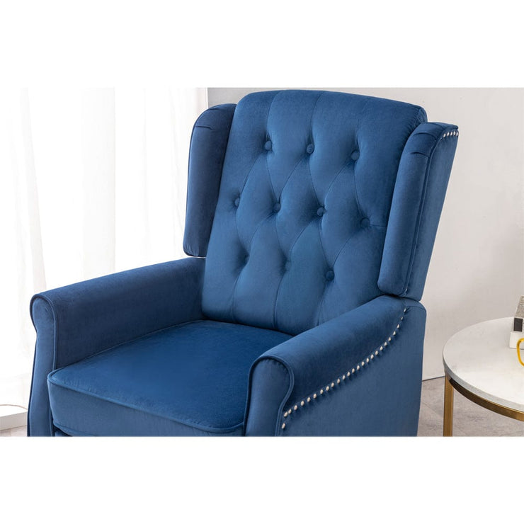 Ascot Studded Wingback Velvet Recliner Chair In Blue