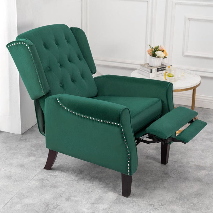 Ascot Studded Wingback Velvet Recliner Chair In Green
