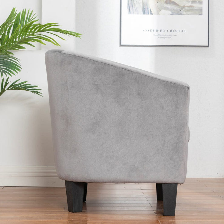 Ascot Velvet Tub Chair In Grey