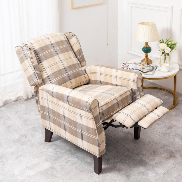 Ascot Wingback Fabric Recliner Chair In Brown Tartan - Furniture Maxi