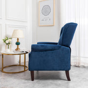 Ascot Wingback Velvet Recliner Chair In Blue - Furniture Maxi