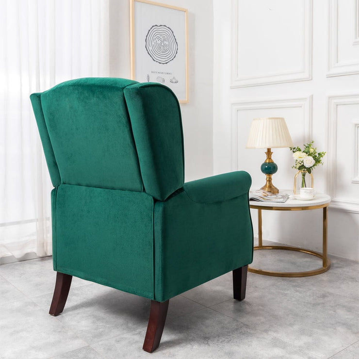 Ascot Wingback Velvet Recliner Chair In Green - Furniture Maxi