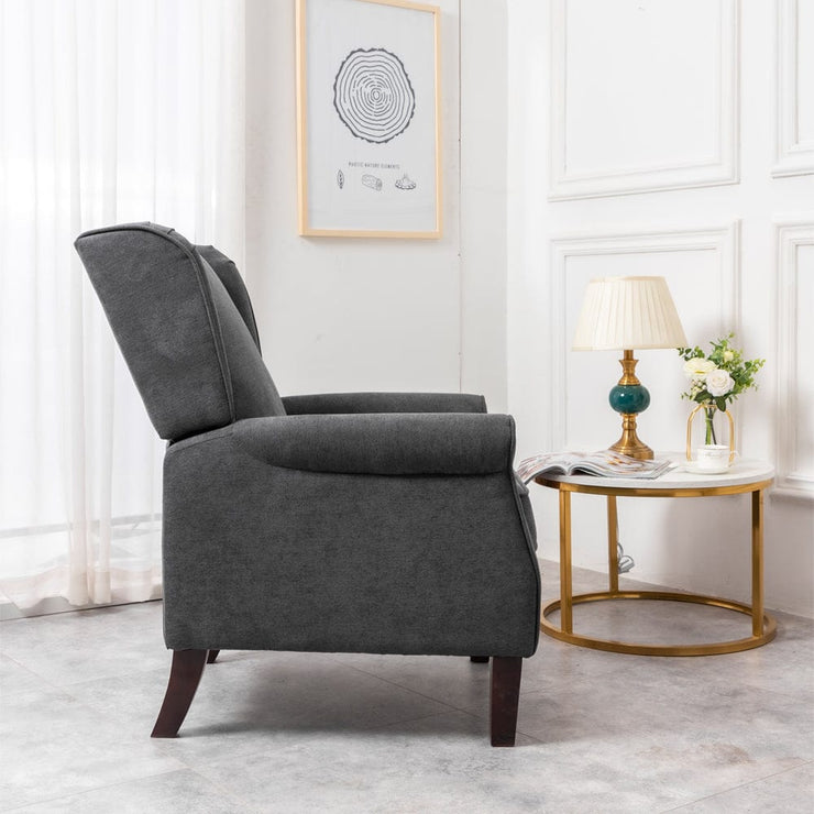 Ascot Wingback Velvet Recliner Chair In Grey - Furniture Maxi