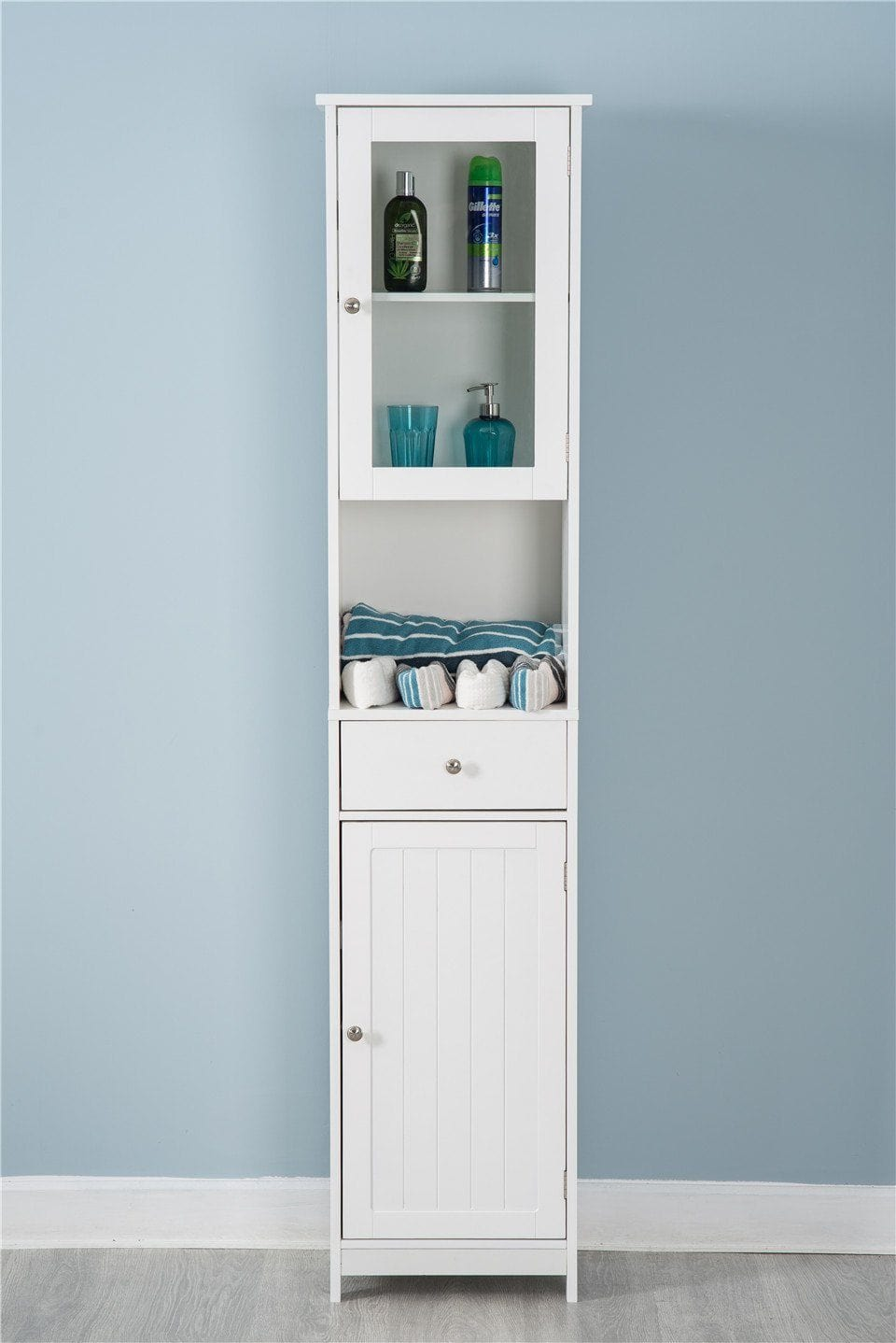 Tallboy Cabinet Double Door Wall Mounted White Storage | Furniture Maxi